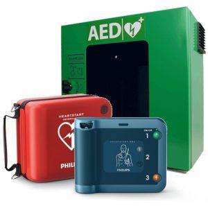 Hjärtstartare Philips FRx, väska och utomhuskåp grönt