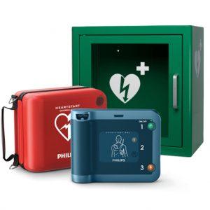 Hjärtstartare Philips Heartstart FRx, väska och larmat skåp