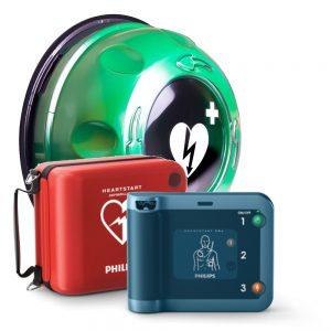 Hjärtstartare Philips Heartstart FRx, väska och Rotaid Utomhusskåp