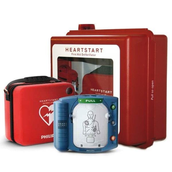 Hjärtstartare Philips Heartstart HS1, väska och larmat skåp med blixtljus