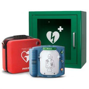 Hjärtstartare PHILIPS Heartstart HS1, väska och larmat skåp