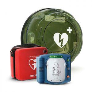 Hjärtstartare Philips Heartstart HS1, väska och skåp Rotaid Plus