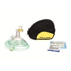 Pocketmask i blå väska