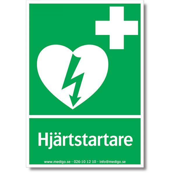 Skylt Hjärtstartare A4